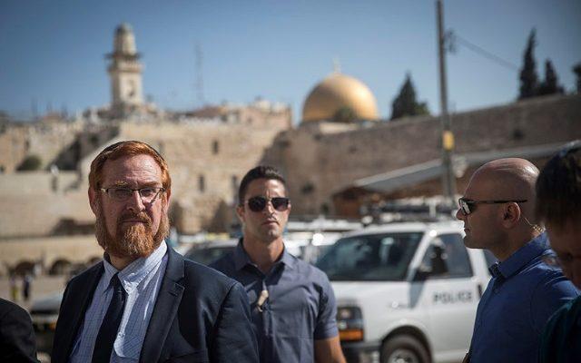 MK Yehuda Glick después de visitar el Monte del Templo. Hadas Parush - Flash90